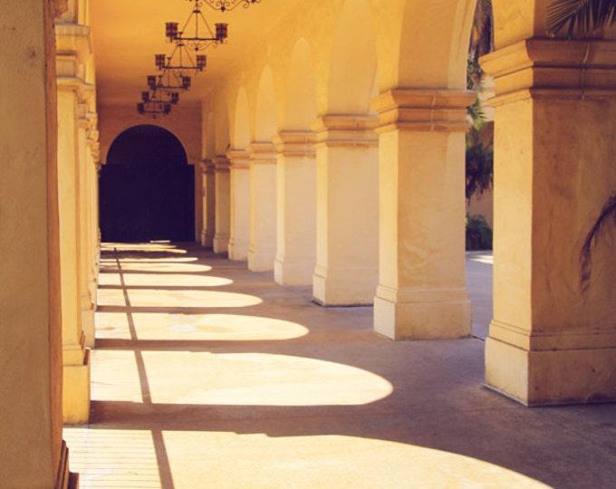 Morning Light, Balboa Park Loggia, El Prado Spanish Colonial Architectural Detail, 8x12 10x15 12x18 16x24 Wall Art Home Decor