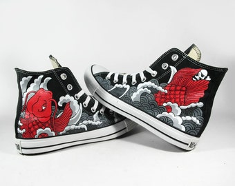paint 2 side of Red Koi tattoo style , custom converse sneaker, custom shoes, shoes painting