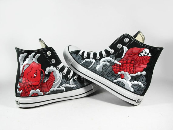 SPECIAL PRICE! 9th Anniversary, Red Koi tattoo style , custom converse sneaker