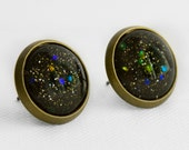 Black Hole Earrings in Antique Bronze - Black with Small Gold & Silver and Large Indigo, Blue Green and Orange Glitter Studs
