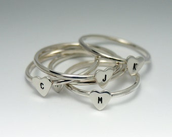 personalized stacked jewelry Heart Ring  - ONE Sterling Silver Heart ring with your choice of Initial