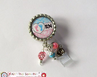 Baby Feet - Retractable Badge Reel - Nurse Badge Clip - Nicu Id Holder - Womens Services ID Pull - Specialty ID Holder - Pediatrics ID Clip