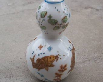 Franklin Mint Imperial Dynasty Collection 1980 Porcelain Mini Vase with Koi Fish and Lily Pads