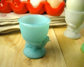 Vintage French Vallerysthal Hen-Shaped Blue Opaline Egg Cup