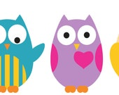 Kids set of 5 owls Bright Colors: vinyl wall decal cute for a nursery or childs room or along a crib