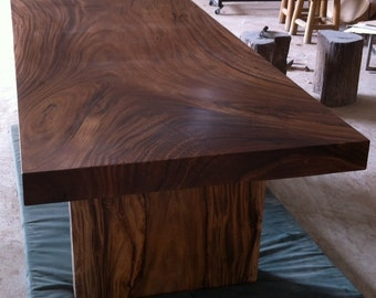 Straight Edge Dining Table Single Acacia Wood Slab Extremely Rare
