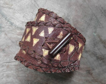 Brown Leather Bracelet Large Cuff Women Wristband Chocolate Brown Golden worn effect hand painted Biker bracelet gold paint One Of A Kind