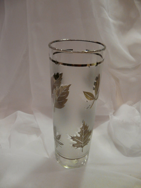 Silver Leaf Frosted Libbey Cooler Glass Vintage