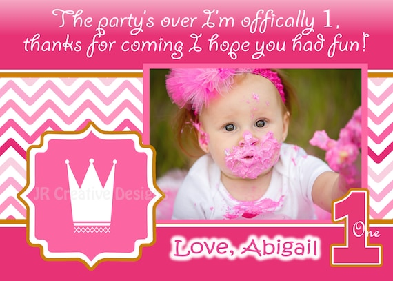Princess thank you card Pink 1st Birthday Party Hot Pink Crown – Thanks for Birthday Card