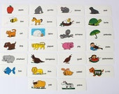 Vintage Alphabet Flashcards Letters ABC's Animals Flash Cards