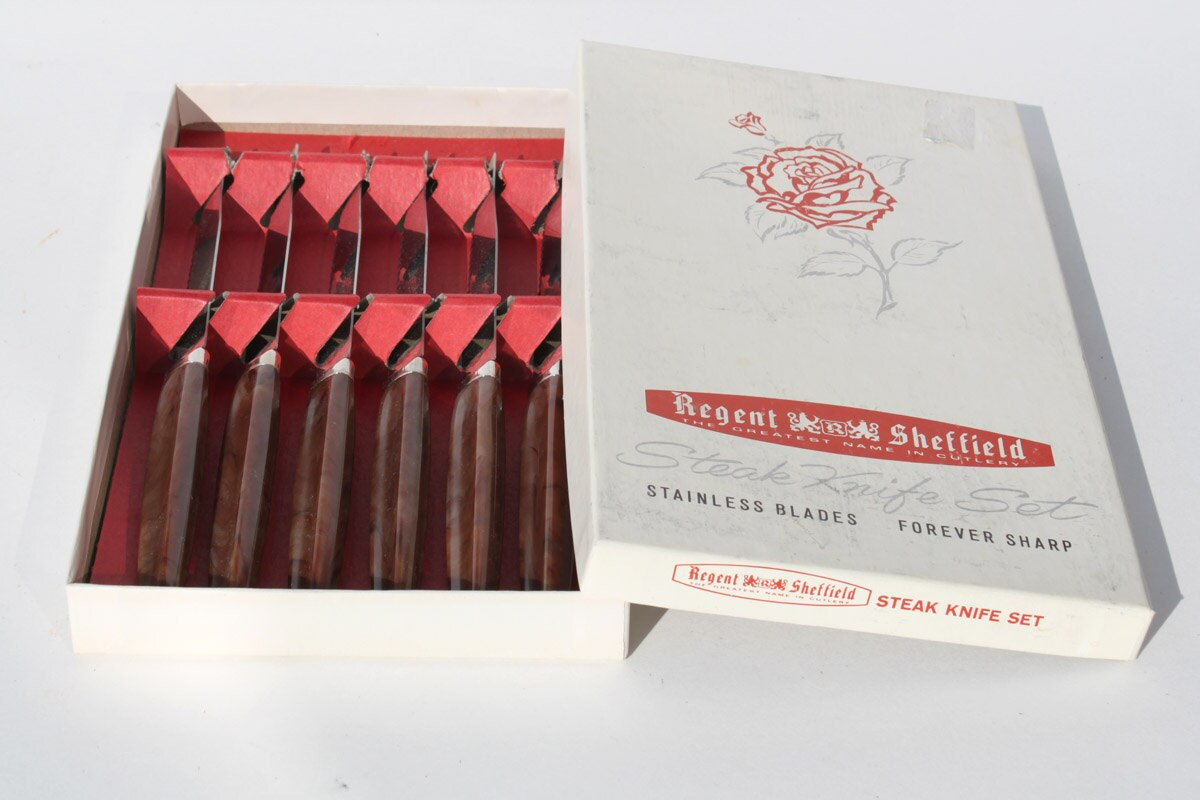 Vintage Regent Sheffield Steak Knife Set Stainless Steel