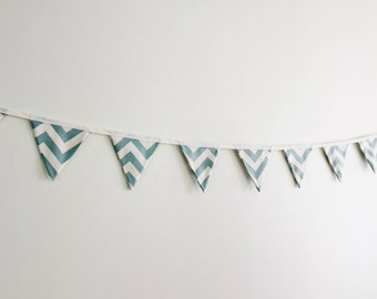 Coastal Blue & Off-white Chevron bunting, party decor, chevron decor, baby decor, home decor, fabric bunting