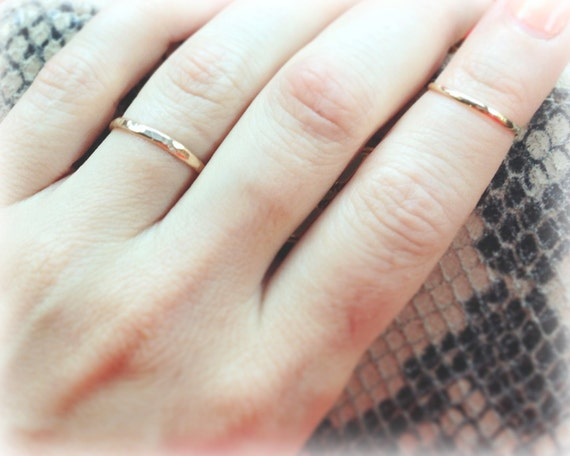 Gold Stacking Ring - Midi - Above Knuckle