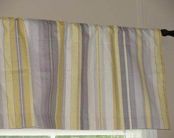 "Waverly Sidewalk Stripe Silver Lining Valance 50"" x16""  Lined with Cotton Muslin yellow grey gray cream"