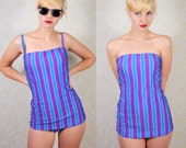 PIN UP SWIMSUIT 1970s retro pin-up swimsuit / bathing suit - purple, teal, blue stripes and convertible straps