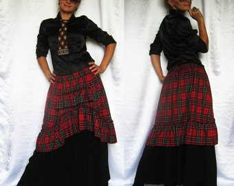 In stock Skirt Autumn Winter Spring Warm Plaid Check  Boho Bohemian Victorian Chik Long Skirt