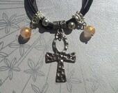 OOAK Handmade Silver Tone Egyptian Ankh Pendant with Rose Quartz Beads Gothic Punk Emo