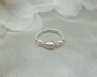 Pink & White Freshwater Pearl Stretch Stretchy Little or Big Toe Ring 925 Sterling Silver Bead Toe Ring BuyAny3Get1 Free