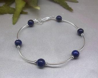 Blue Lapis Lazuli Bracelet Blue Bracelet Blue Lapis Bracelet Sterling Silver or Plate Adjustable Bracelet Christmas Gift for Her Buy3+1 Free