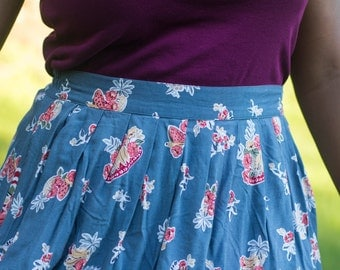 Upcycled vintage blue foral high waisted hi-lo womens skirt size medium