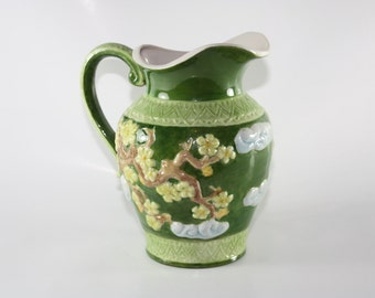 Green Vintage Pitcher, Asian Design, Flowers on Tree Branches, 1970's, For Serving and Decor