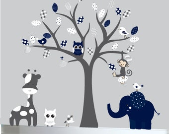 Grey and Navy Childrens wall decal grey jungle tree decal sticker - 0083