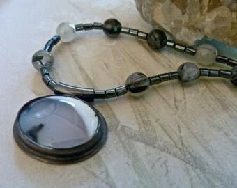Dendritic Opal Pendant - Tourmaline Quartz Hematite - Elegant Artisan Sterling Silver Pendant Necklace