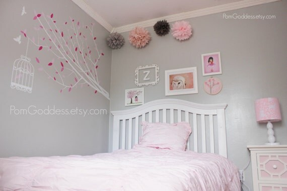 Pink and grey 5 tissue pom poms girl s room decor girl nursery