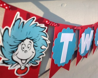 Thing 1 Thing 2 Cat in the Hat Inspired Twins Banner
