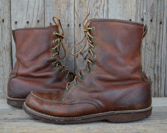 50s Work Boots Brown Leather Gold Bond American Work Wear Moc Toe Cork Cushion Sole Work Boots, size 8