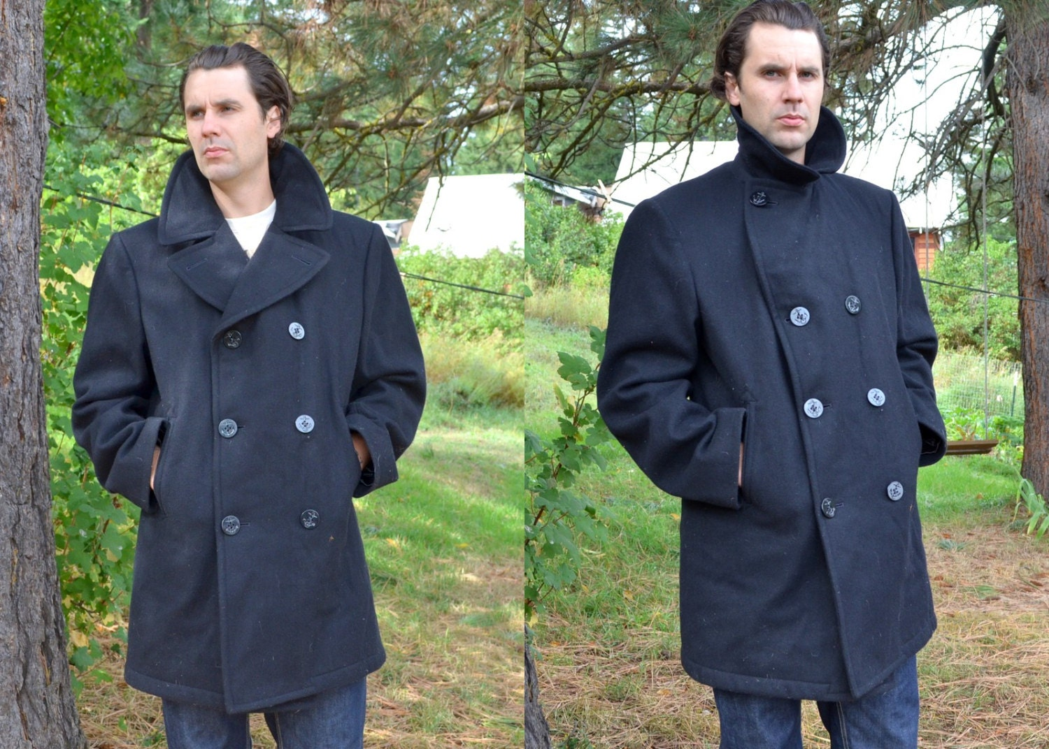 Vintage Military Wool US Navy Peacoat 44 Long