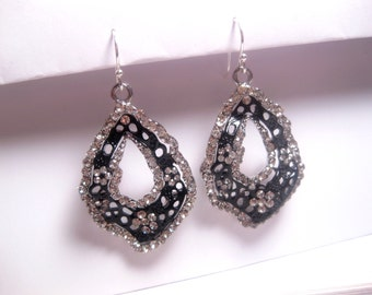 Fish Net Black Dangle Earrings With Rhinestone Trim - Sterling Silver Wire