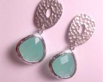 Mint Green Hammered Disk Drop Earrings