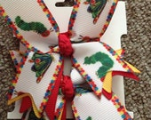 New  Very Hungry Caterpillar Ribbon Spike  hair bow set of 2    ........Too Cute