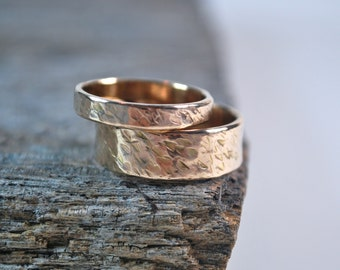 Wedding Ring Set, Handcrafted Wedding Rings, Rose Gold & Yellow Gold Rings, His and Her Wedding Rings, Matching Wedding Ring Set