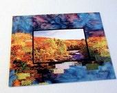 Postcard, Fiber Art print, quilted photo landscape, East Coast Colours