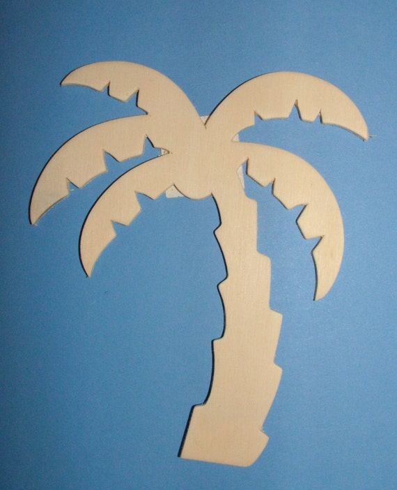Set Of 4 Unfinished Palm Tree Wood Cutouts