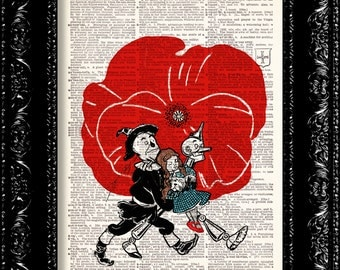 Wizard Of Oz Poppy Field - Dorothy Tin Man Scarecrow Frank Baum - Dictionary Print Vintage Book Page Art Upcycled Vintage Book Art