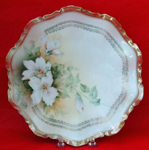 """REDUCED: Antique R S PRUSSIA 8 1'2"""" PLATE White Flowers Heavy Gold Rim n Red Steeple Mrk Reinhold Schleglemilch Suhl Germany Exc Cond."""
