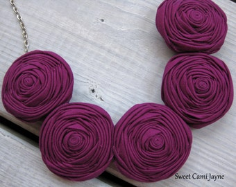 Rosette Necklace Fabric Statement Necklace Magenta Rosettes Bib Necklace Purple Rosette Necklace Fabric Jewelry Handmade Necklace Unique