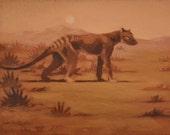 Tasmanian Tiger Thylacine Original Acrylic Fine Art Painting by Casey Perez