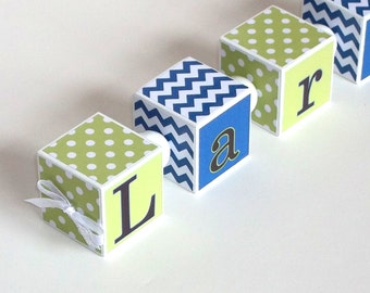 Wooden Name Blocks - Personalized Name - Baby Shower Gift - Nursery Decor - Chevron and Dots