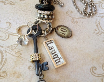 Industrial Chic Art-i-Cake Mixed Media Altered Art Steampunk Stacked Charm Key Diamond Ring Pearl Vintage Necklace Jewelry