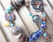 Lampwork and ceramic knotted bracelet Beachcomber 3