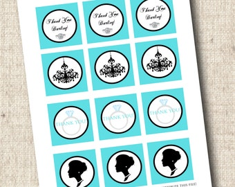 Printable Breakfast at Tiffany's Party Favor Tags - INSTANT DOWNLOAD