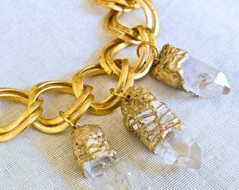 Fluorite- Quartz- Crystal- Charm Bracelet- Handmade by Pauletta Brooks Wearable Art