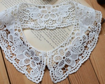 ivory  lace collar, cotton lace collar, crochet lace collar, vintage style lace collar