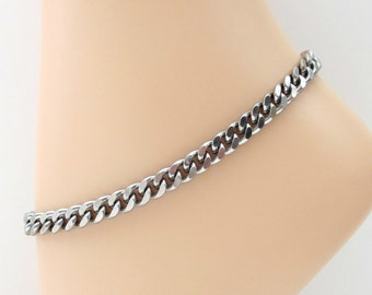 Thick stainless steel chain anklet, 7mm curb chain anklet for men or women