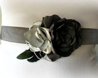 Wedding Sash, Pregnancy Photo Prop, Maternity Sash, Ribbon Sash, Flower Girl Sash in Grey and Charcoal
