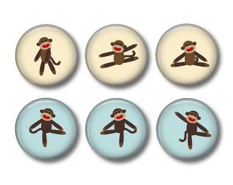 Sock Monkey pinback button badges or fridge magnets